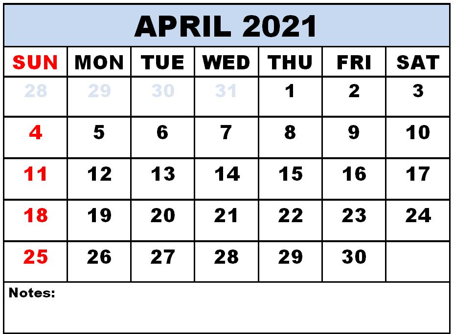 Editable April 2021 Calendar with Notes