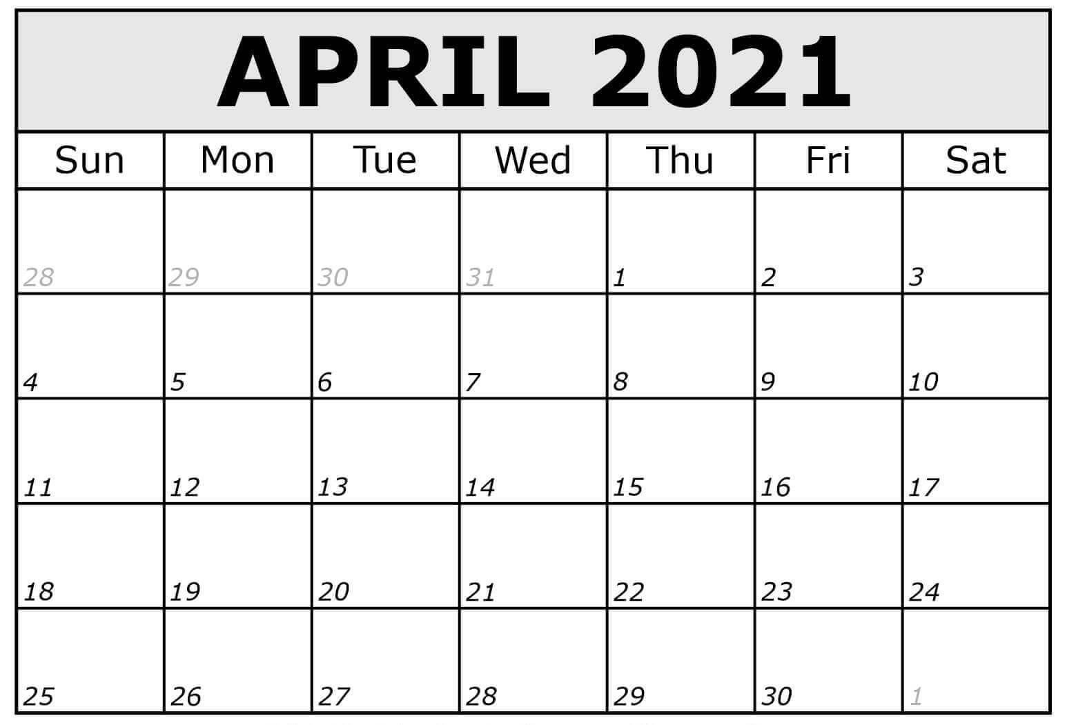 Fillable April 2021 Calendar Template