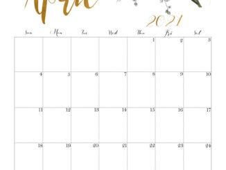 Floral April 2021 Calendar Floral