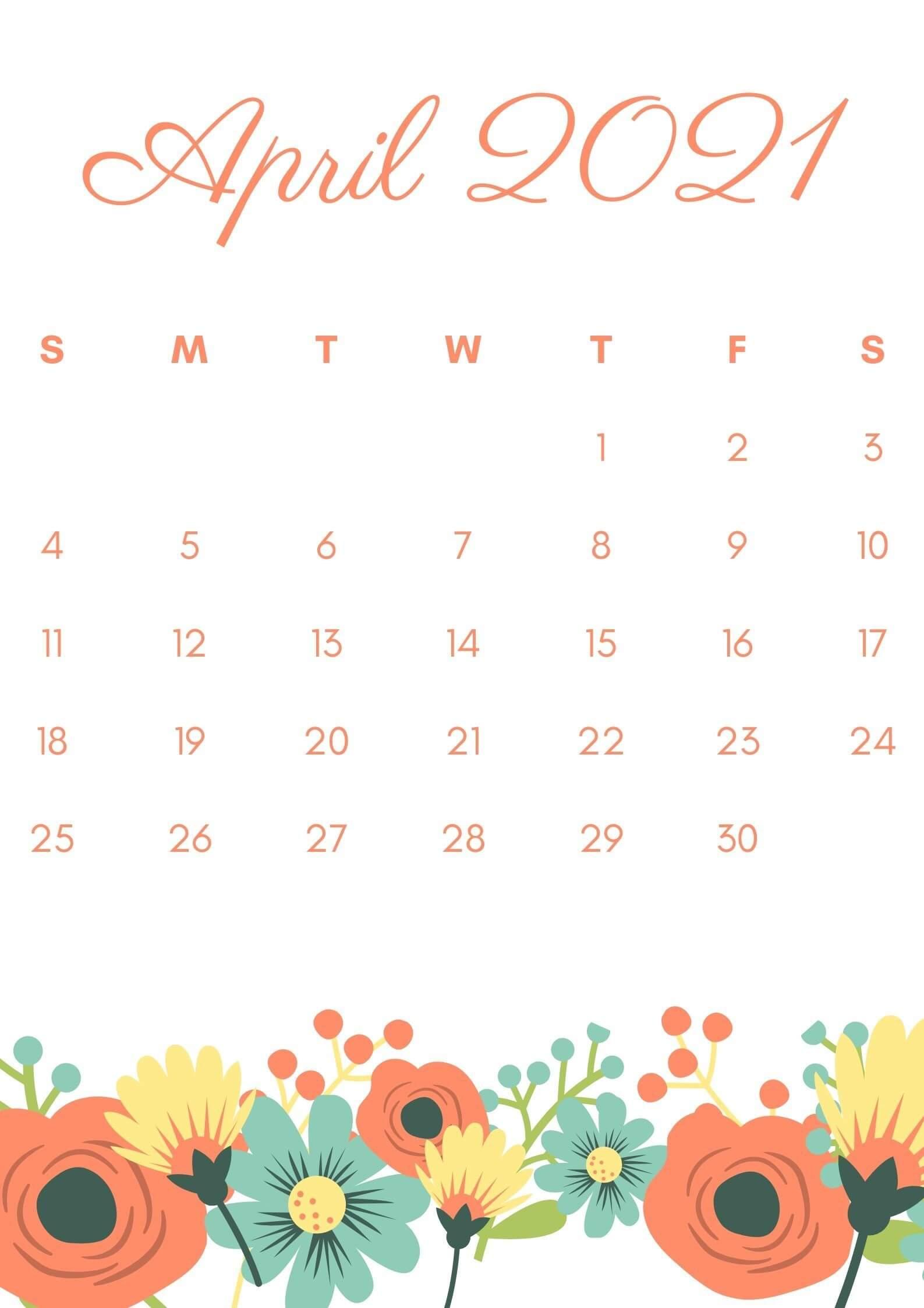 Floral April 2021 Calendar Wallpaper