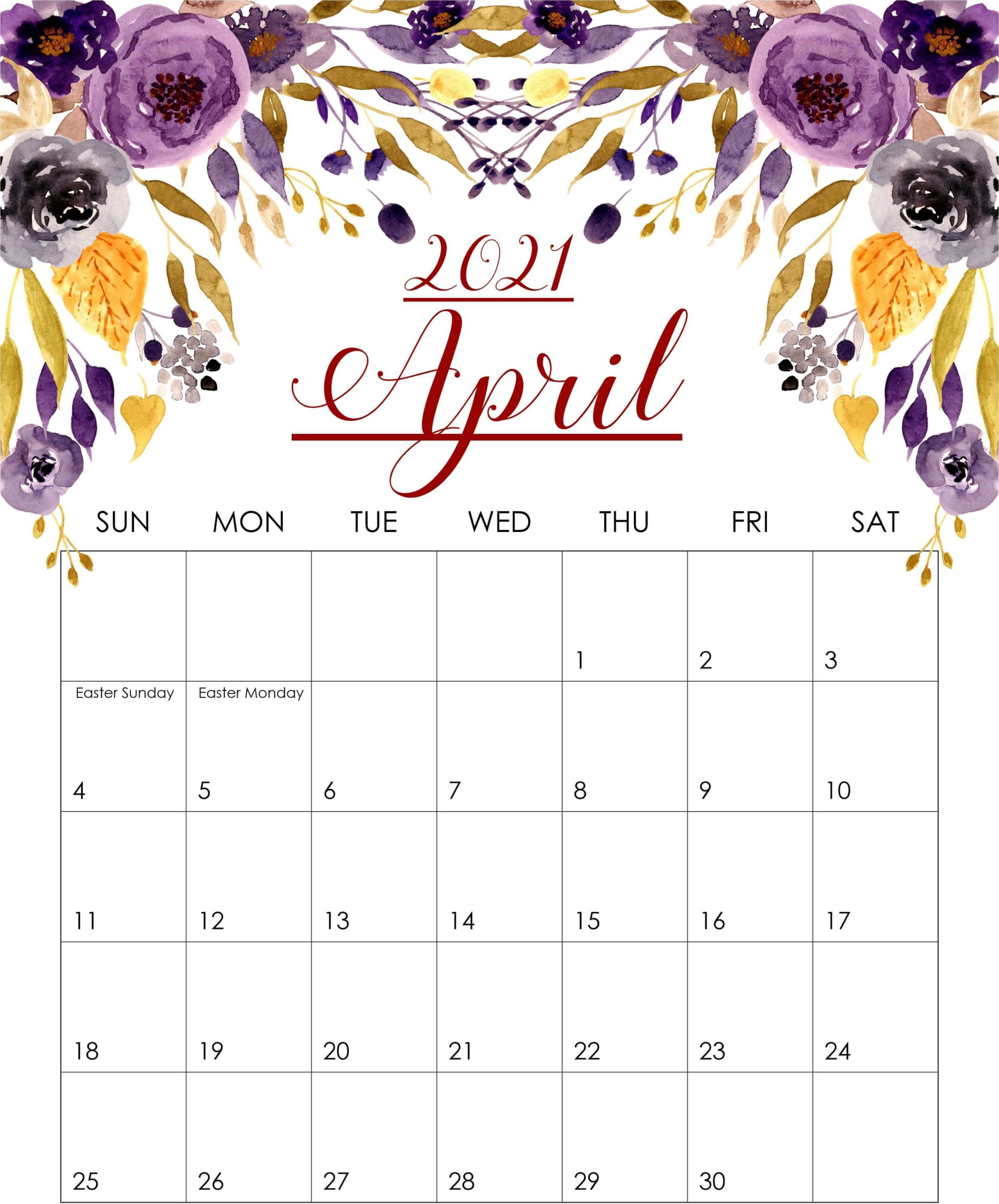 Floral April 2021 Calendar
