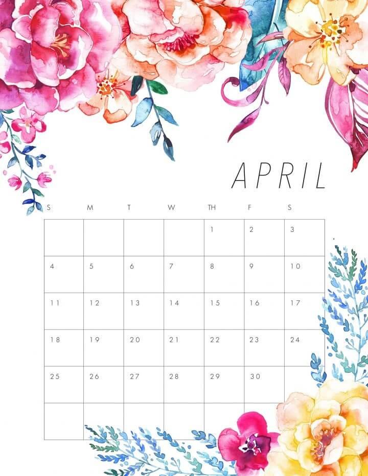 Floral April 2021 Desk Calendar