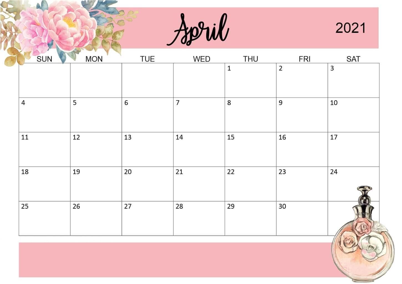 Floral April 2021 Printable Calendar