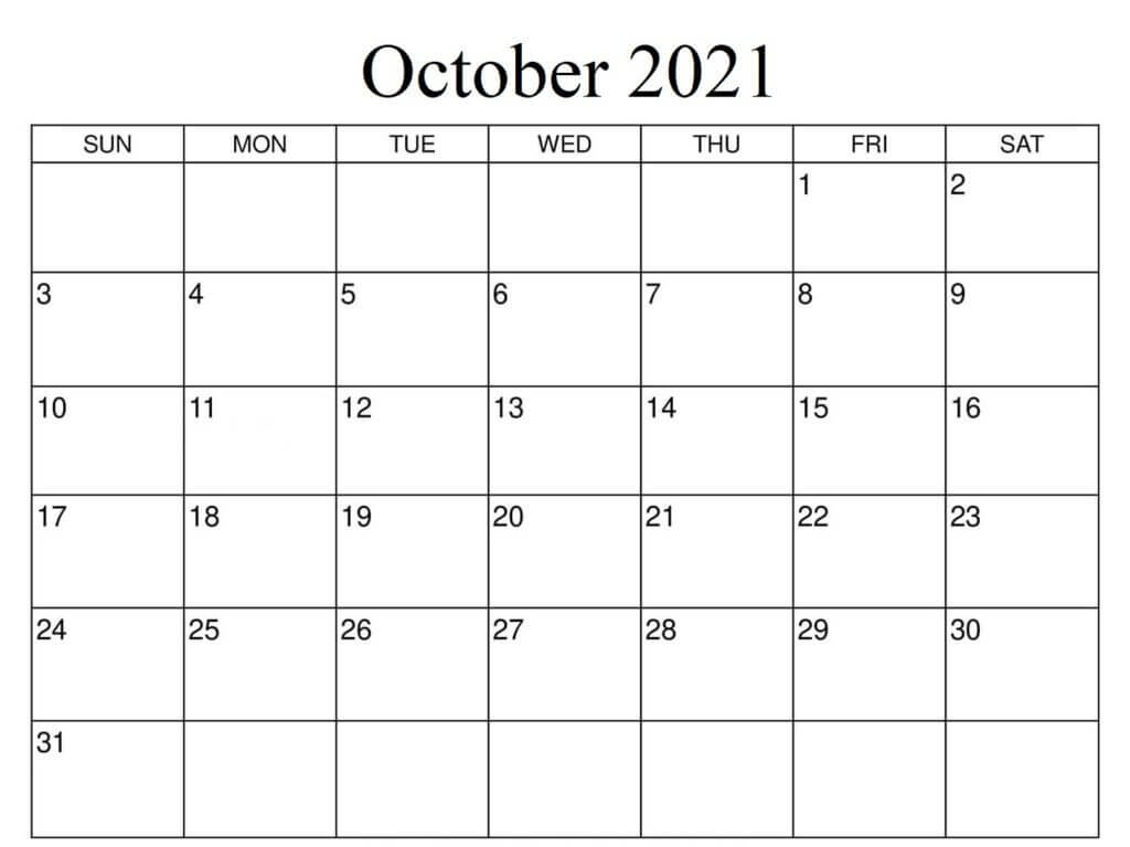 2021 October calendar Fillable