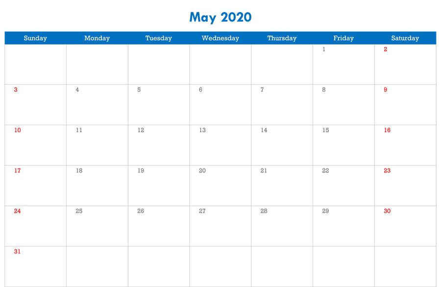 Blank Editable May Calendar 2020