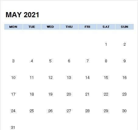 Blank May 2021 Calendar Editable