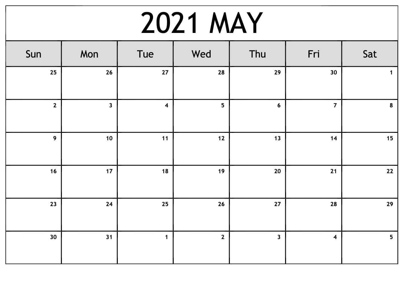 Blank May 2021 Editable Calendar