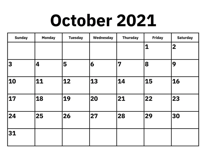 Blank october 2021 calendar Fillable