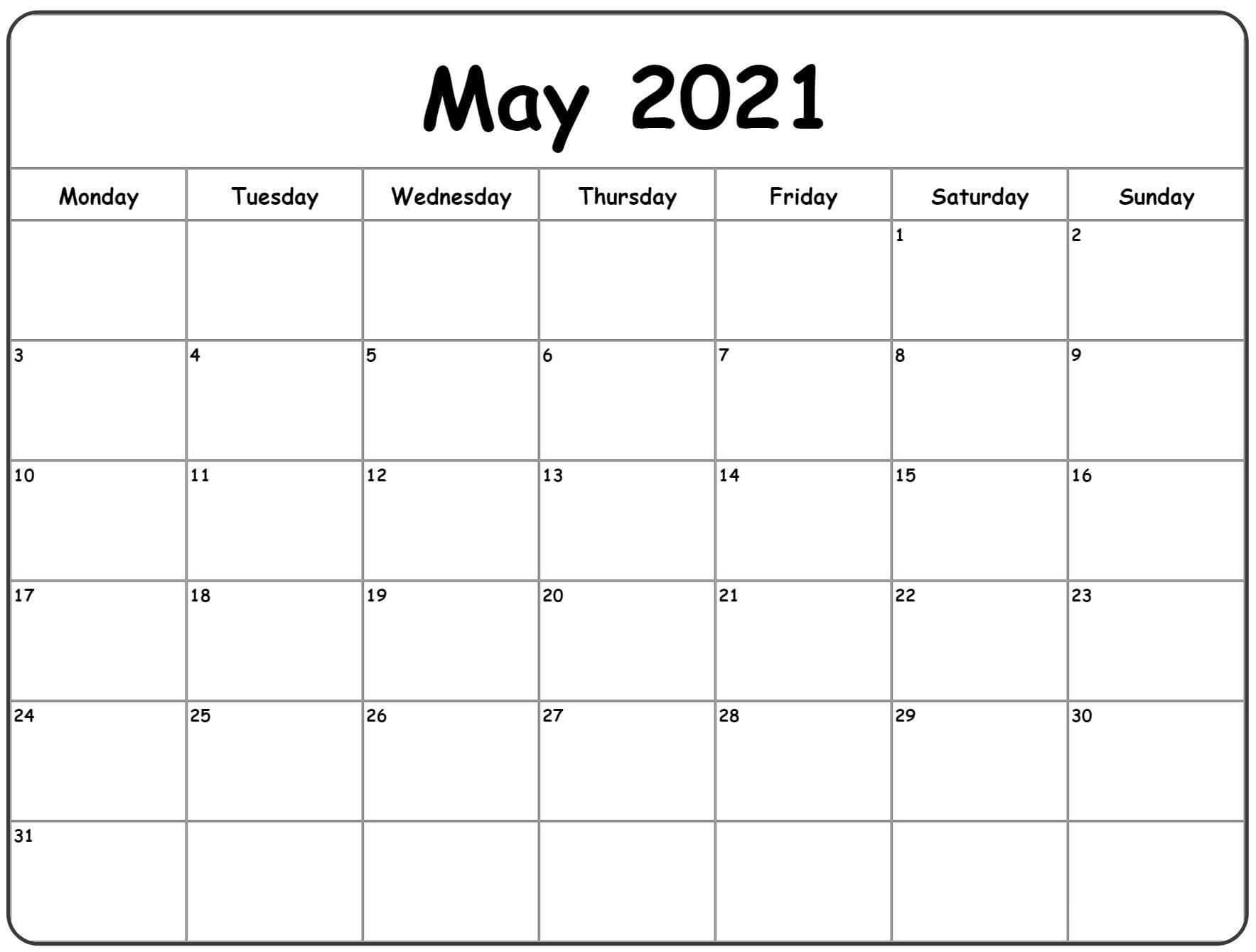 Editable Calendar For May 2021