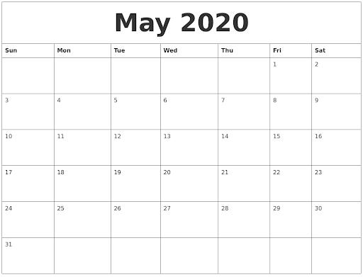 Editable May Calendar 2020