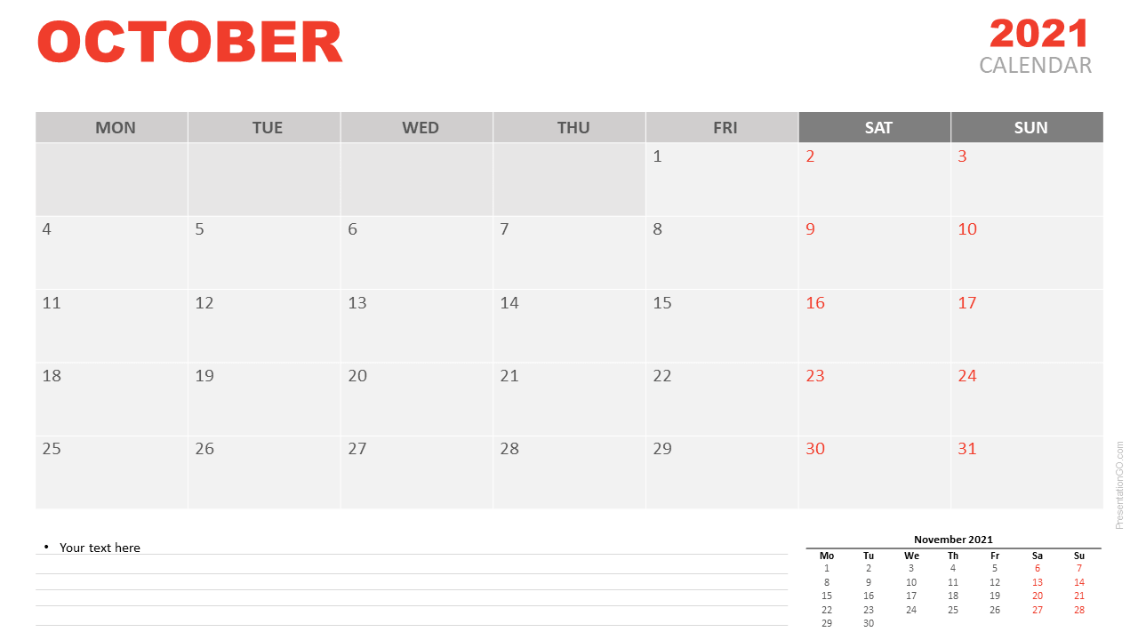 Fillable Calendar For October 2021 Printable
