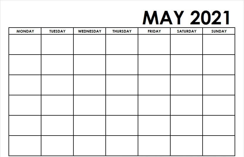 Fillable May 2021 Calendar Template