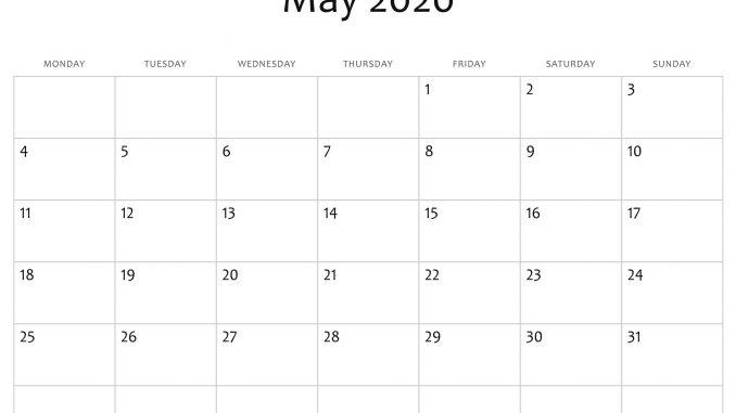 Free Editable May Calendar 2020
