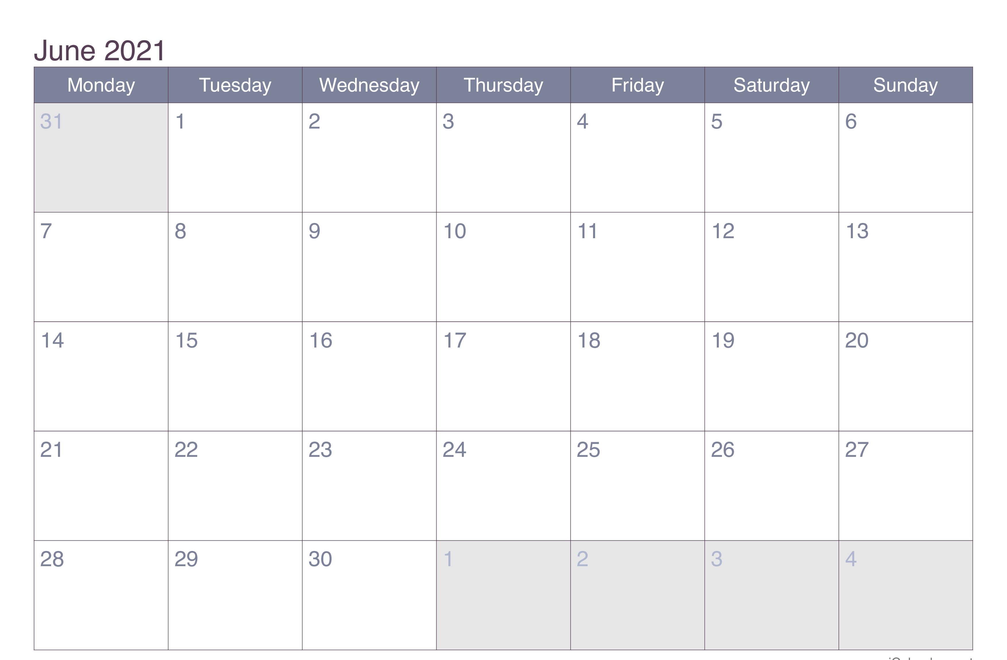 Blank Calendar June 2021 Editable