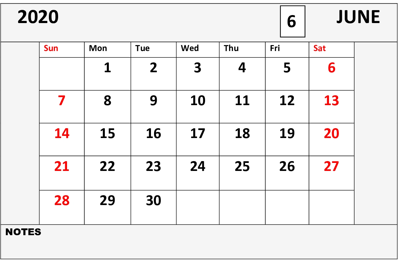 Blank June 2020 Printable Calendar Template