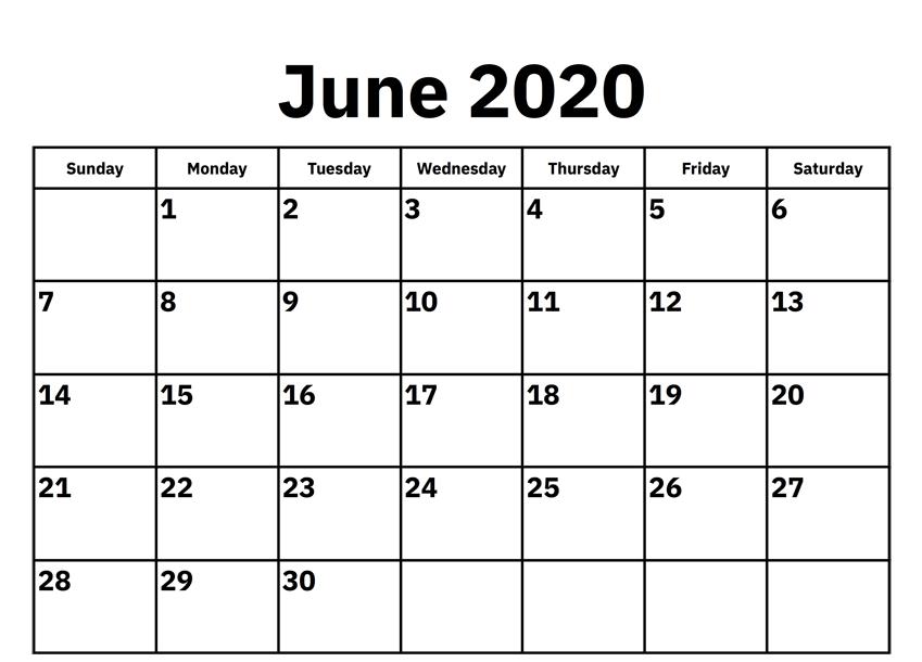 Blank June Calendar 2020 Printable