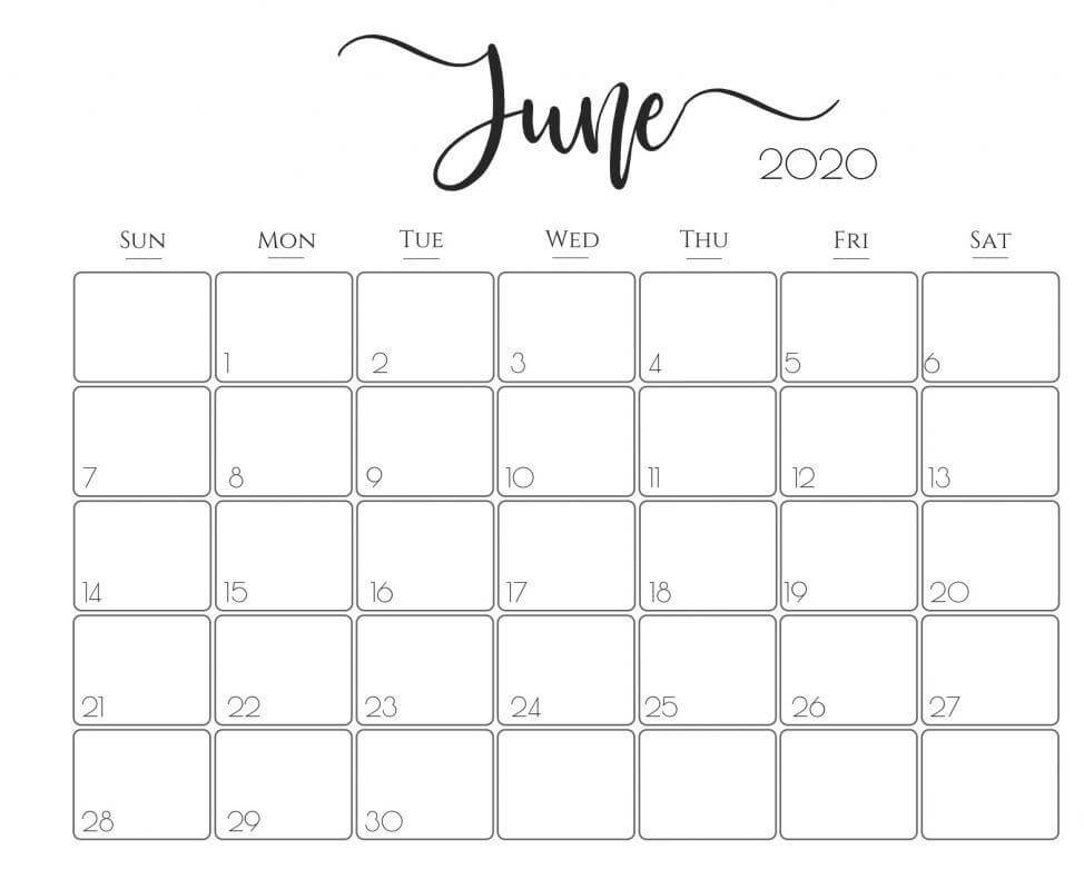 Blank June Calendar 2020 Template