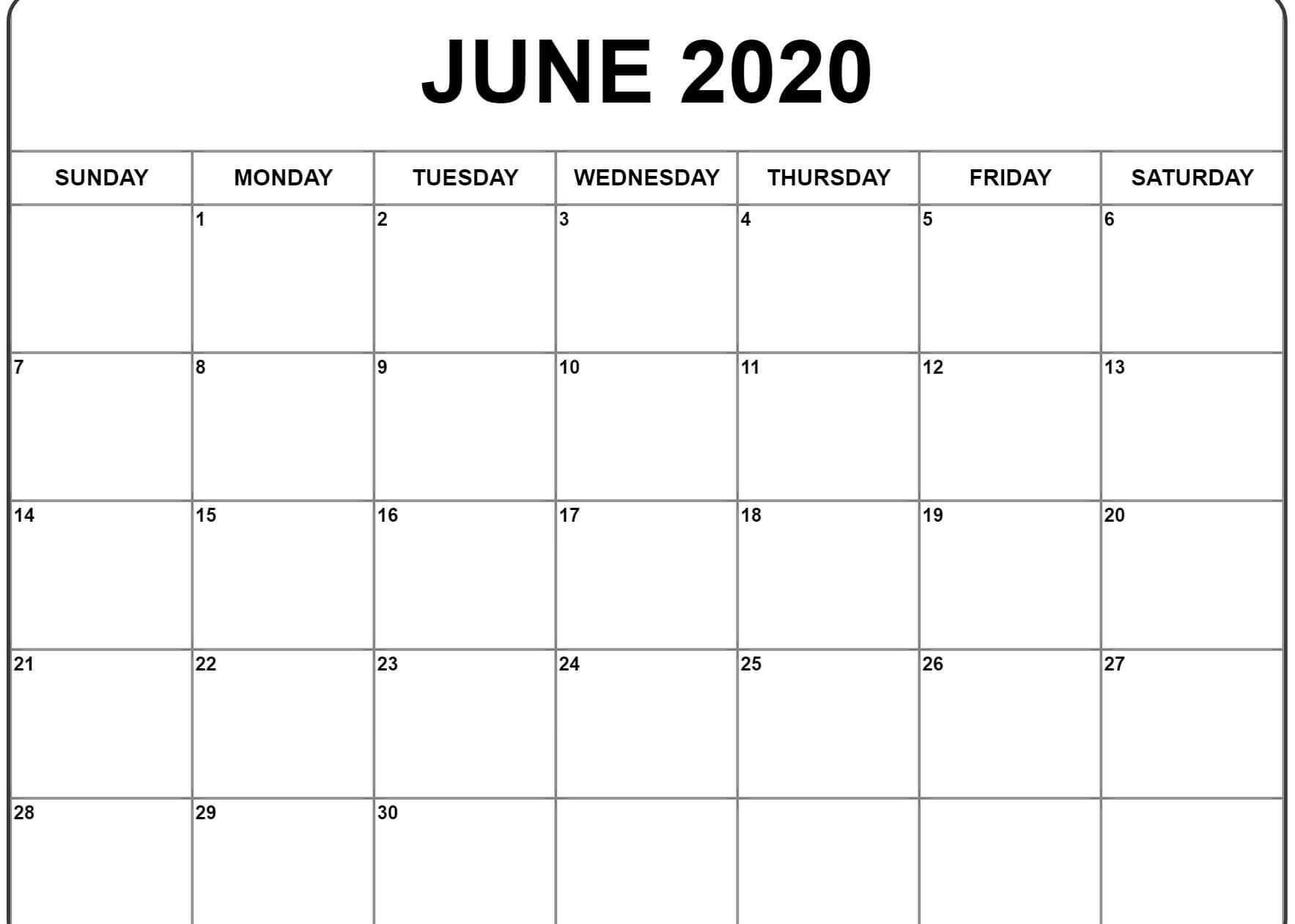 Blank June Calendar 2020