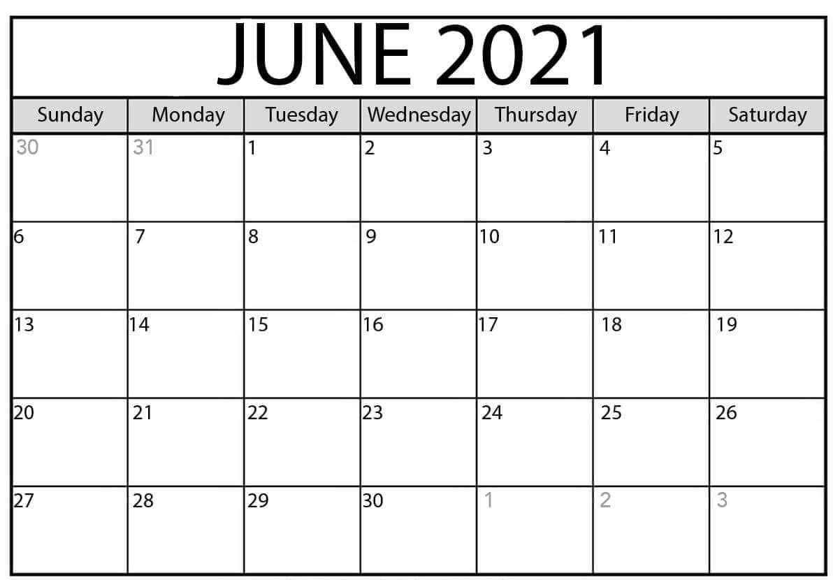 Blank June Calendar 2021