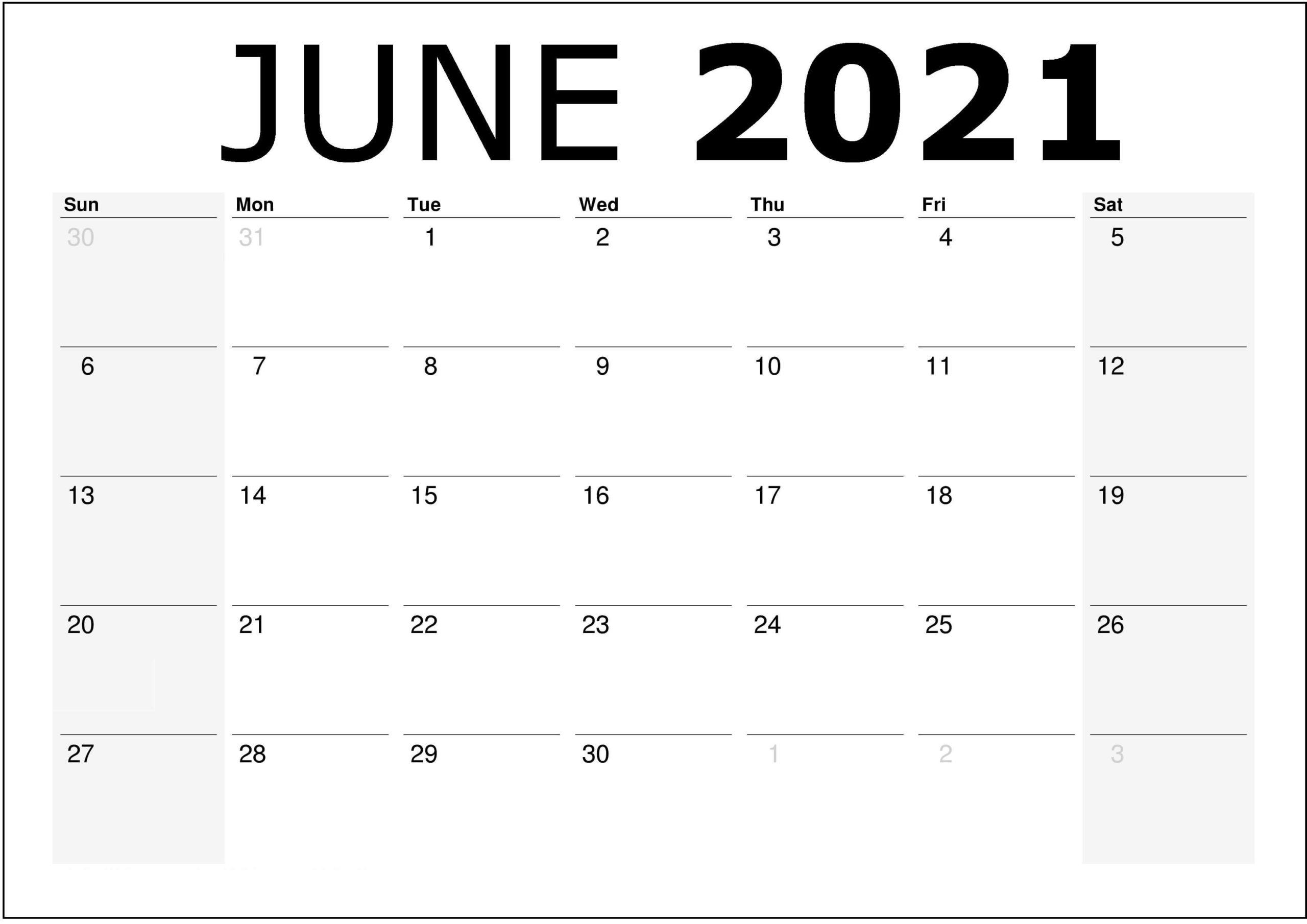 Blank Monthly Calendar June 2021