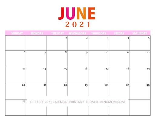 Cute June 2021 Calendar Printable