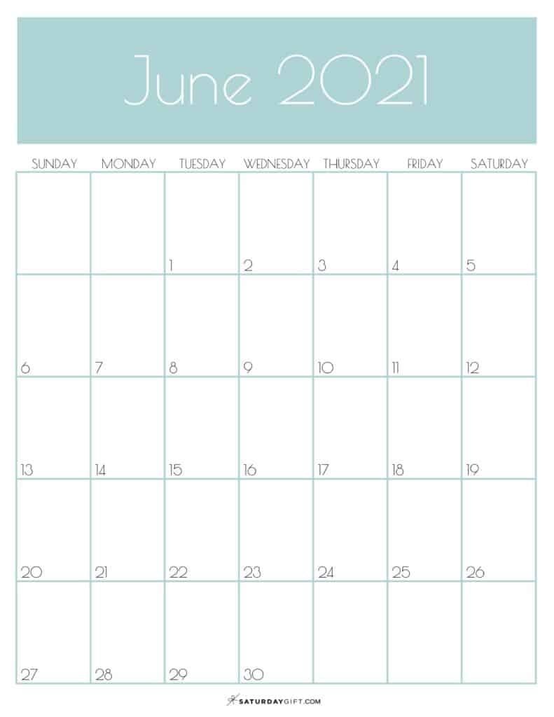 Cute June 2021 Calendar Template