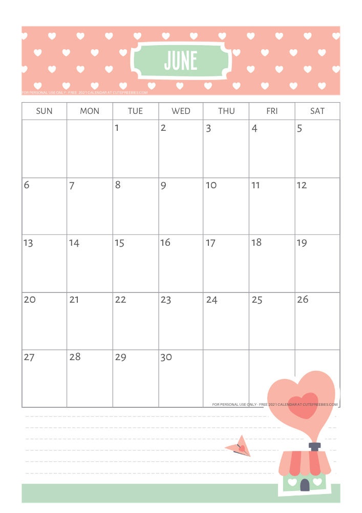 Cute June 2021 Calendar for Kids