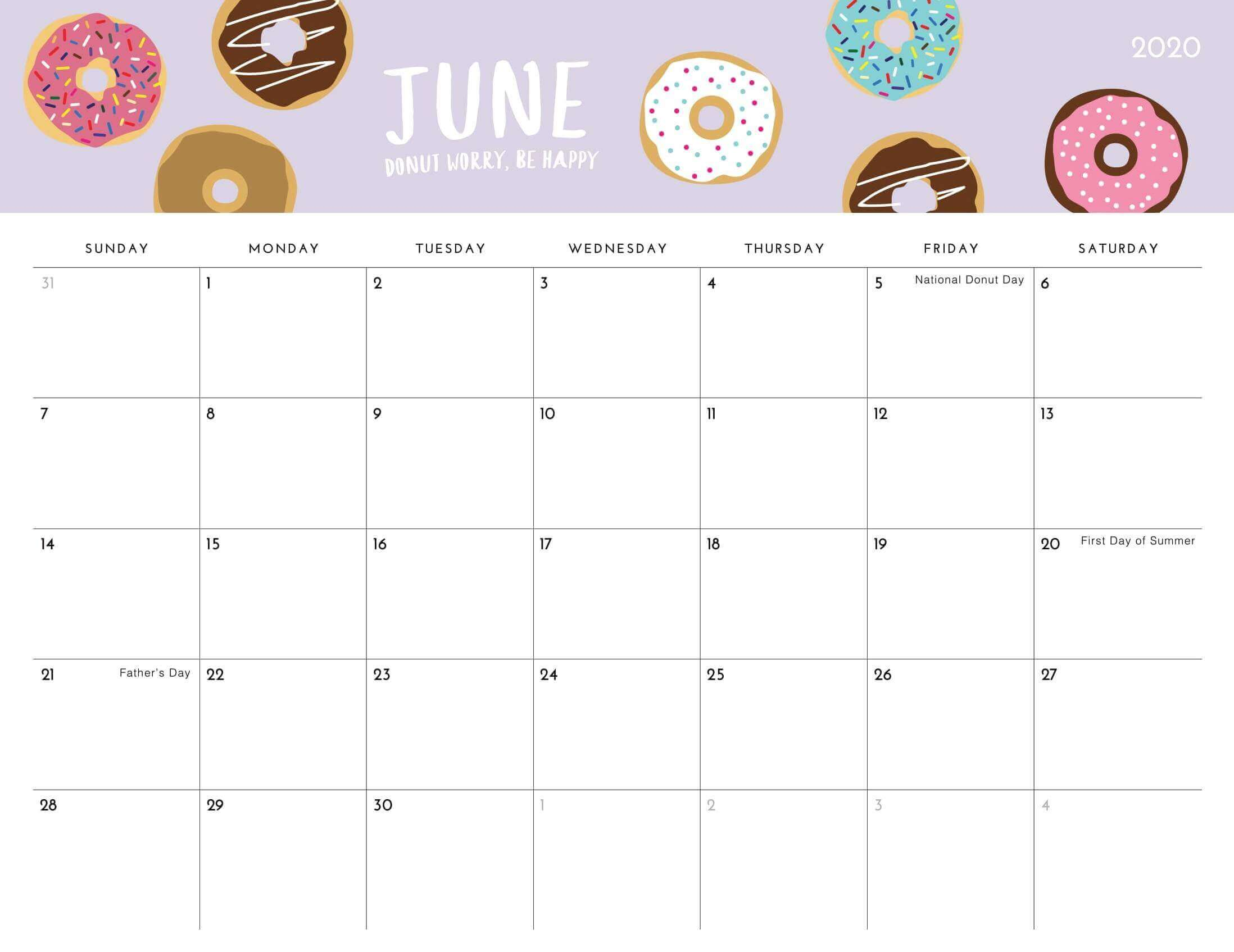Cute June 2021 Calendar with Holidays
