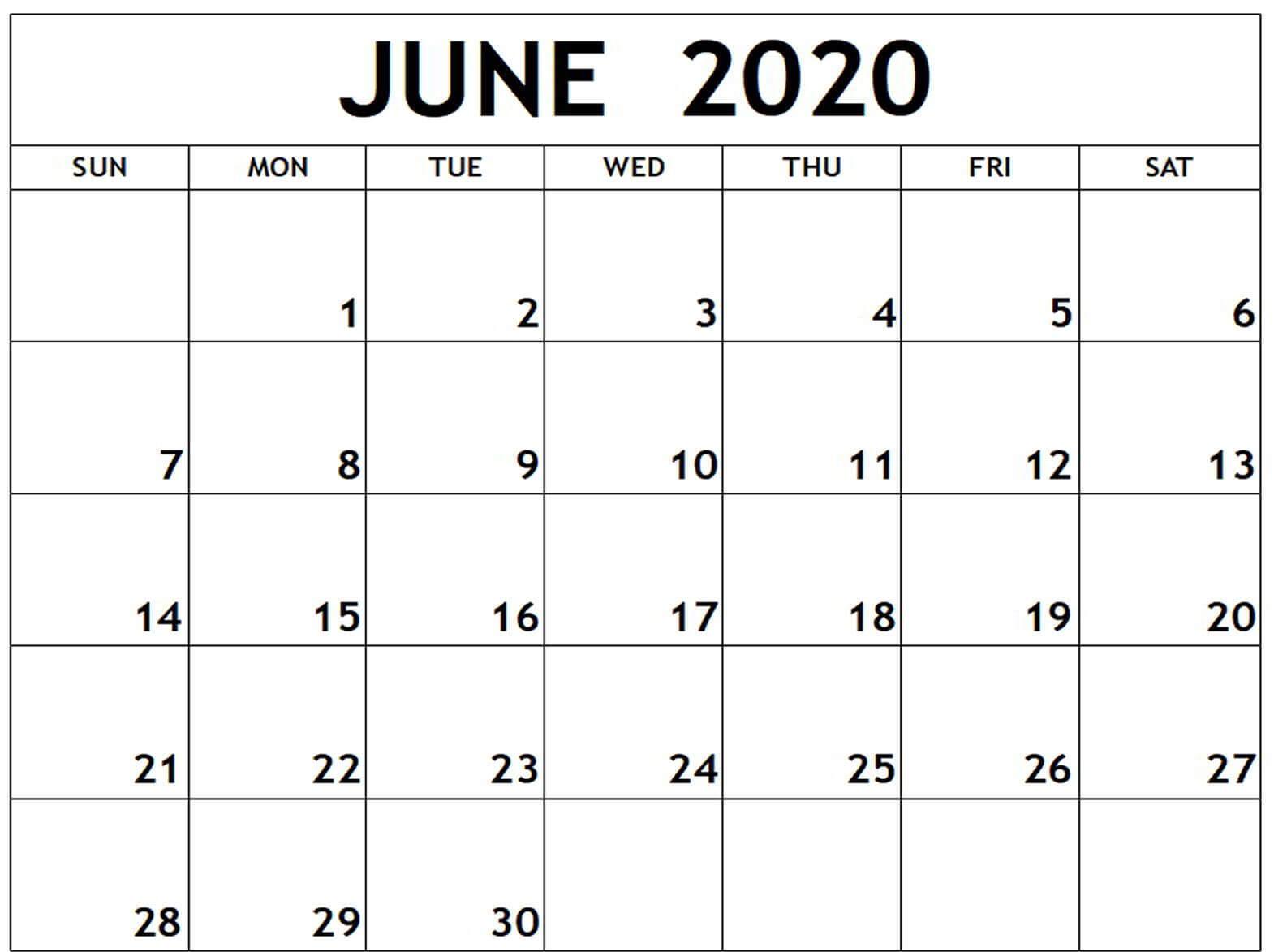 Editable 2020 June Calendar