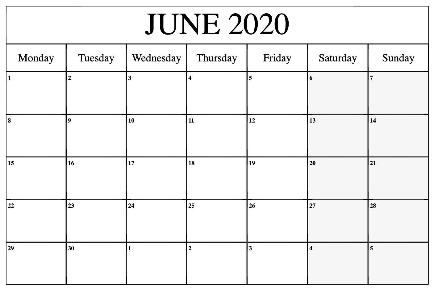 Free June Calendar 2020 Template
