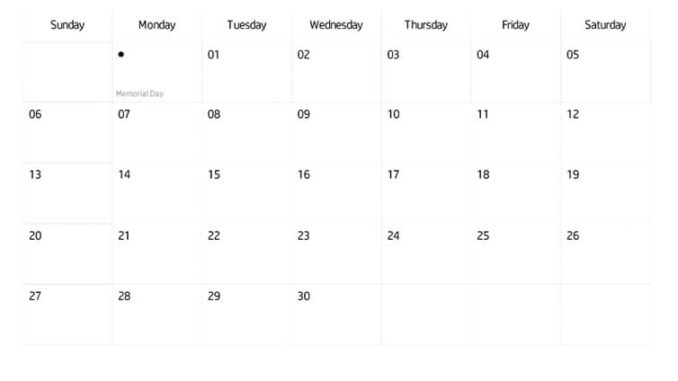 June 2021 Calendar Editable