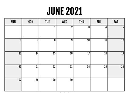 Monthly June 2021 Calendar Editable