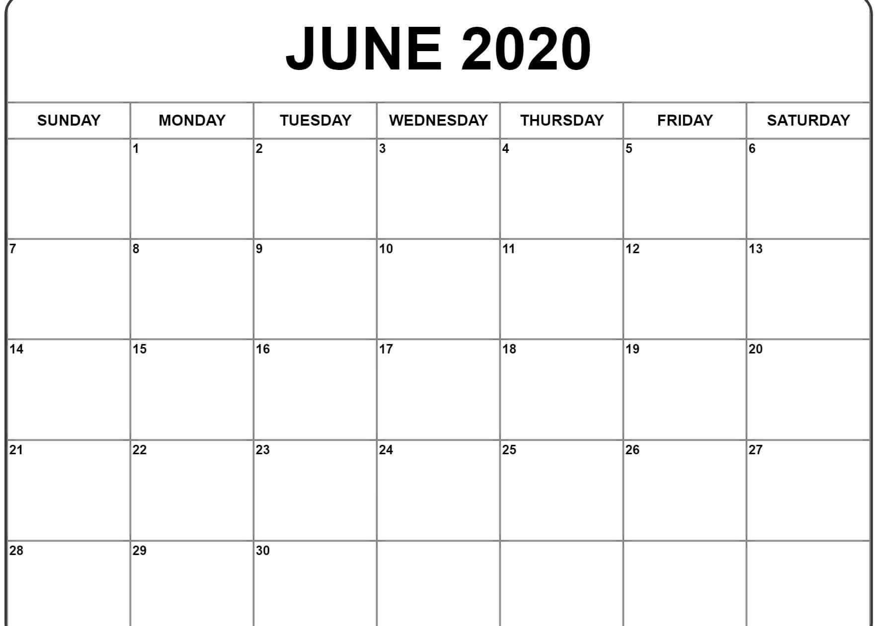 Print June 2020 Calendar