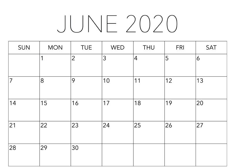 Printable June 2020 Blank Calendar