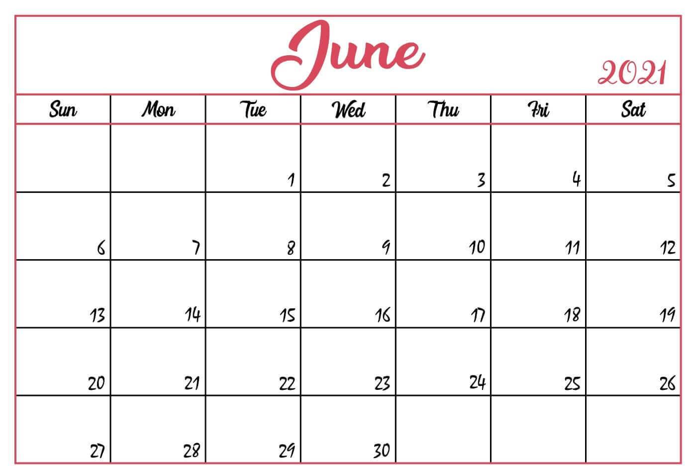 Printable June 2021 Blank Calendar