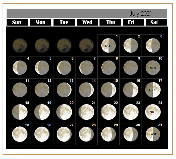 2021 July Calendar Moon Phases Templates