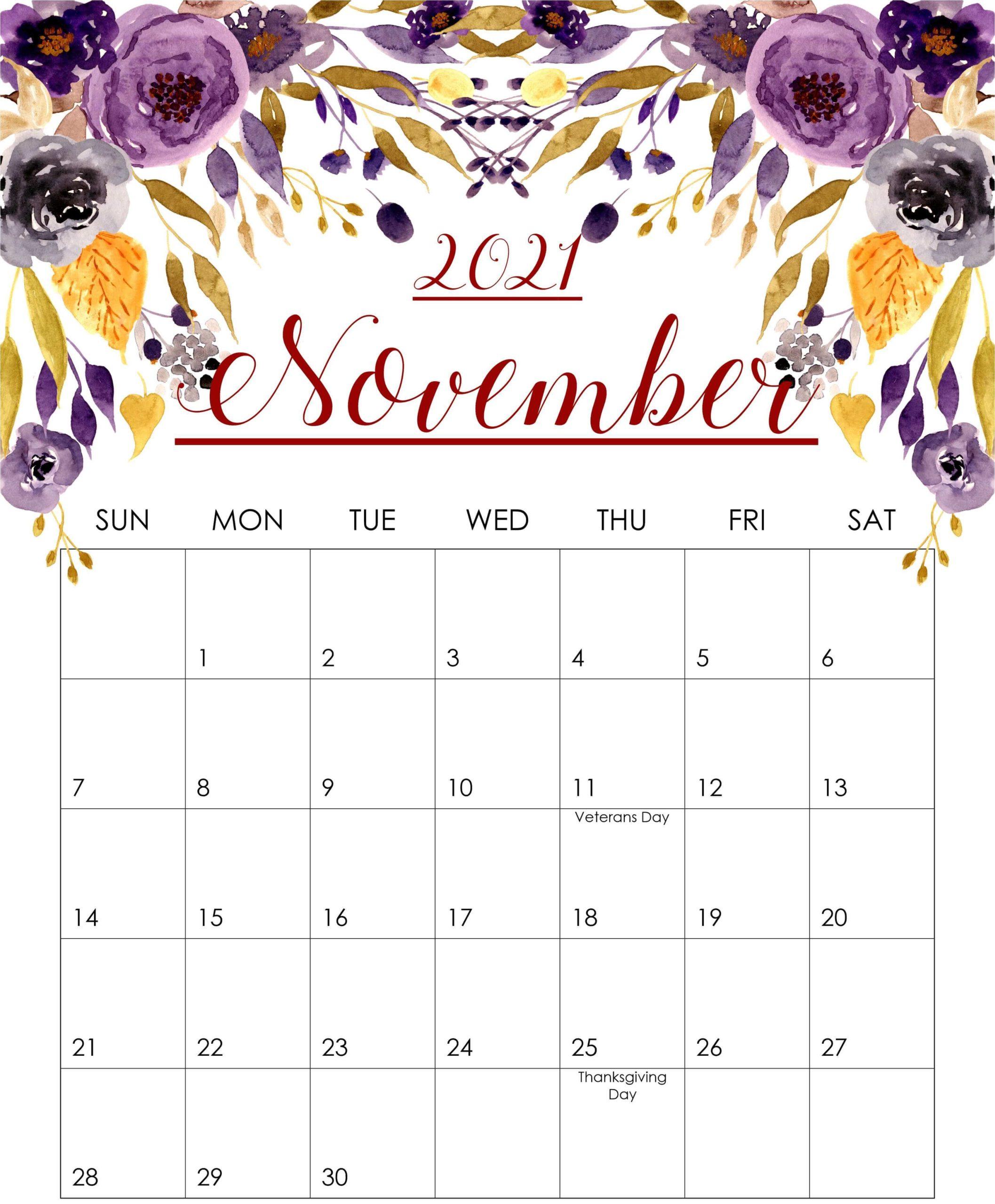 2021 November Cute Calendar