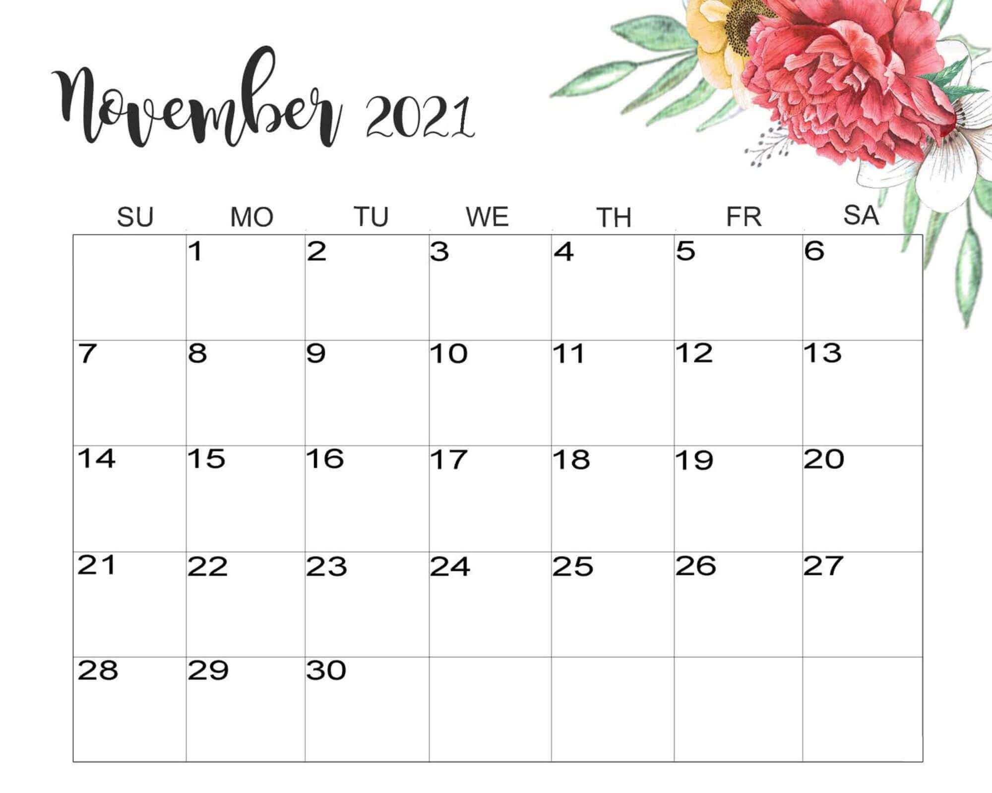 2021 November Floral Calendar