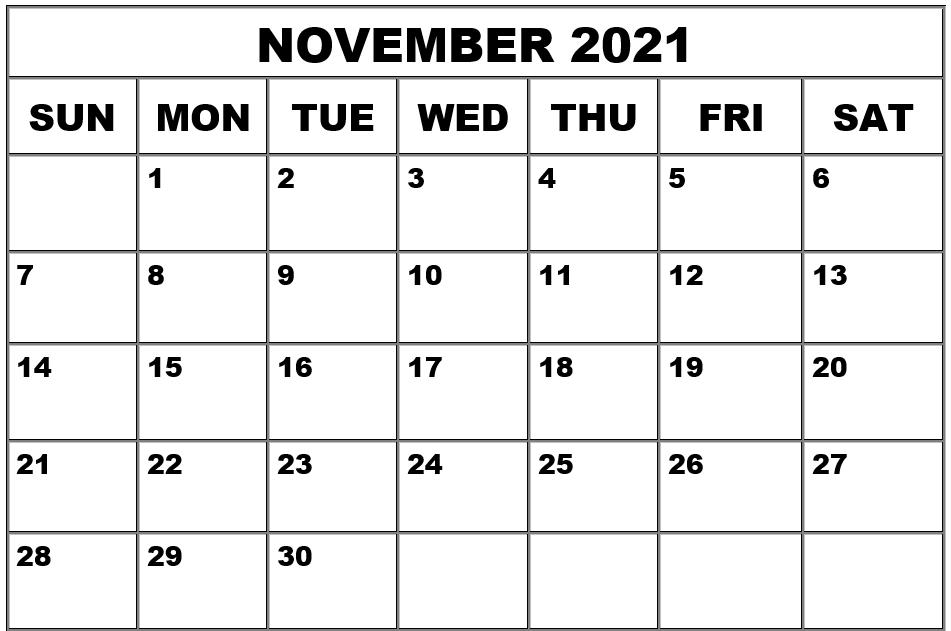 Blank November Calendar 2021
