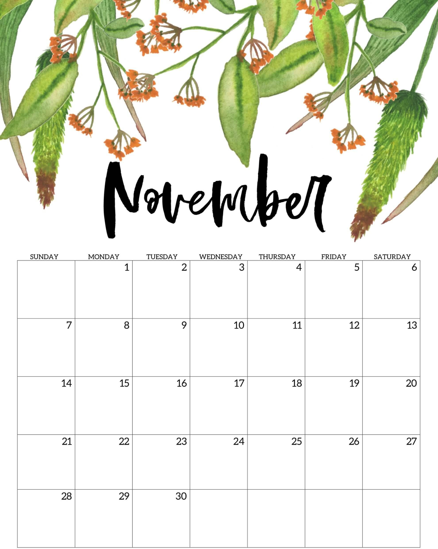Decorative November 2021 Calendar Cute