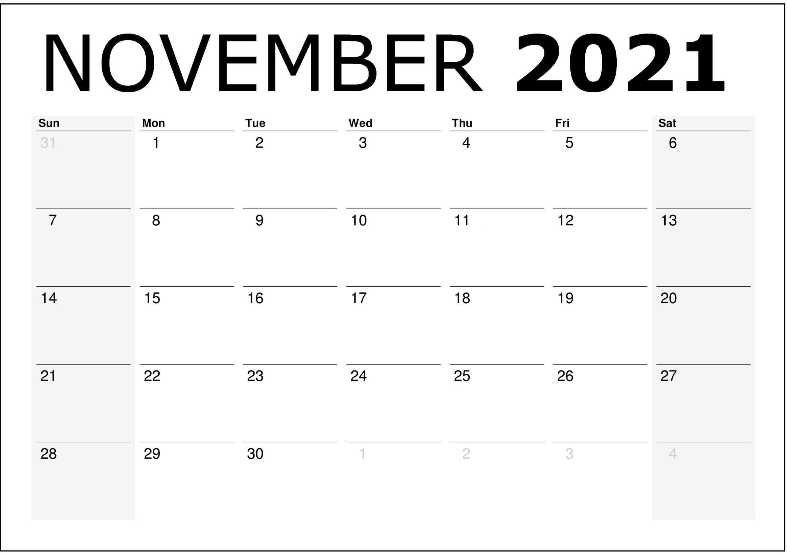Editable November 2021 Calendar Word