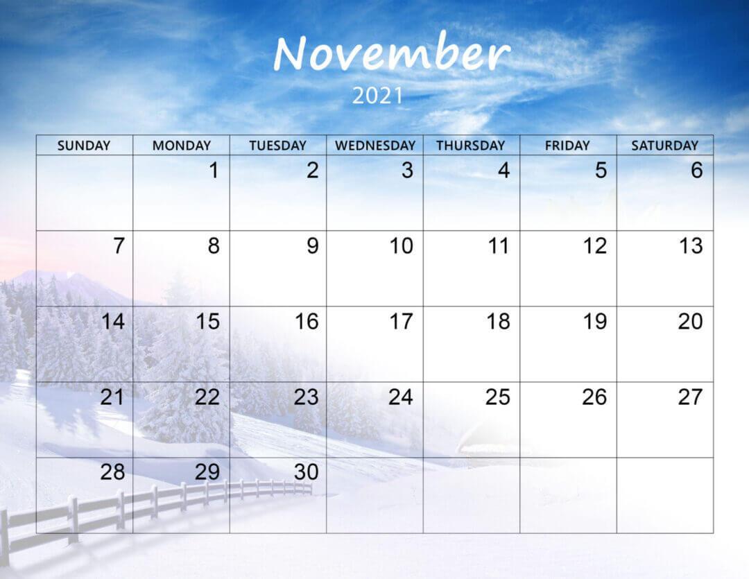 Floral November 2021 Calendar Wallpaper