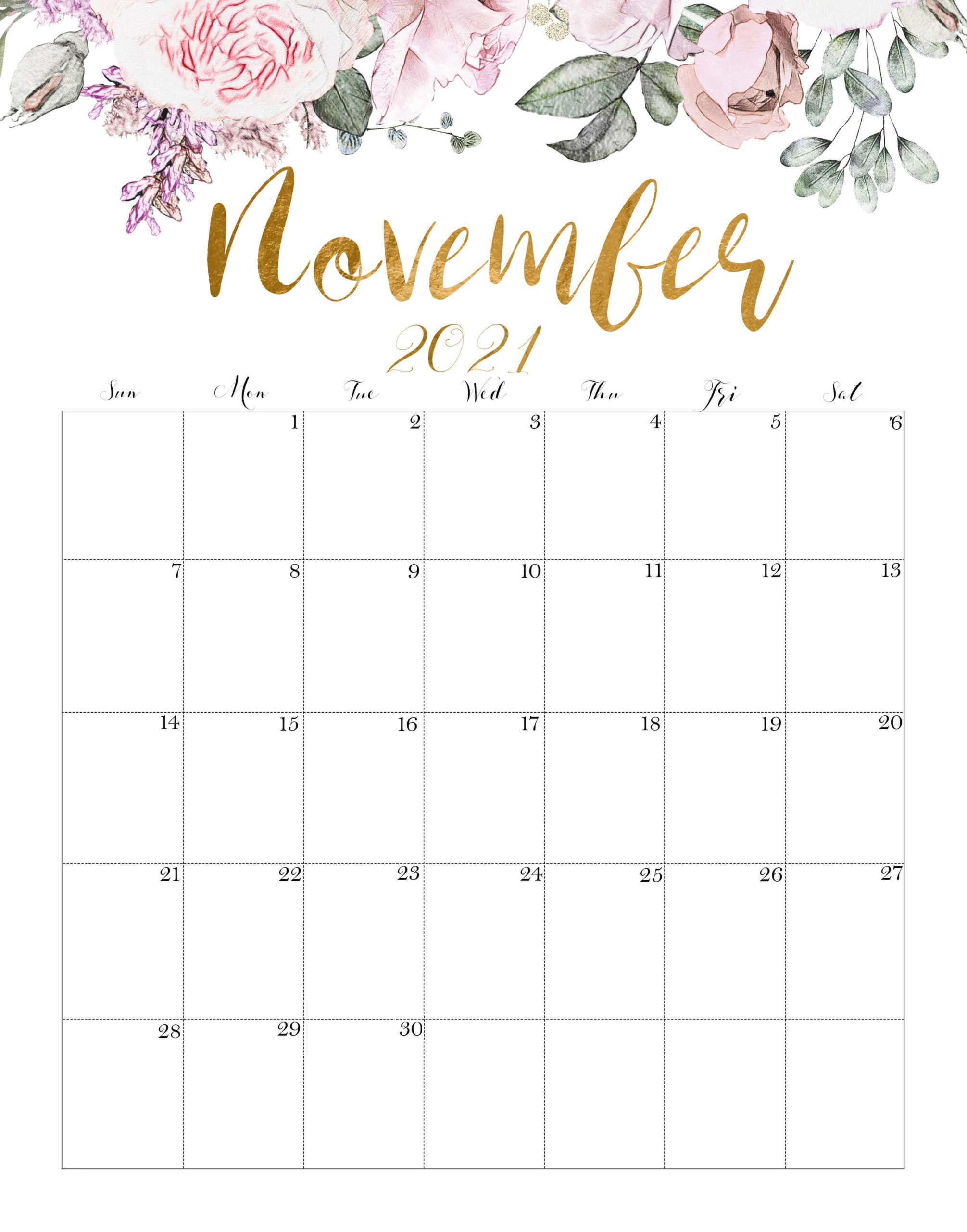Floral November 2021 Wall Calendar