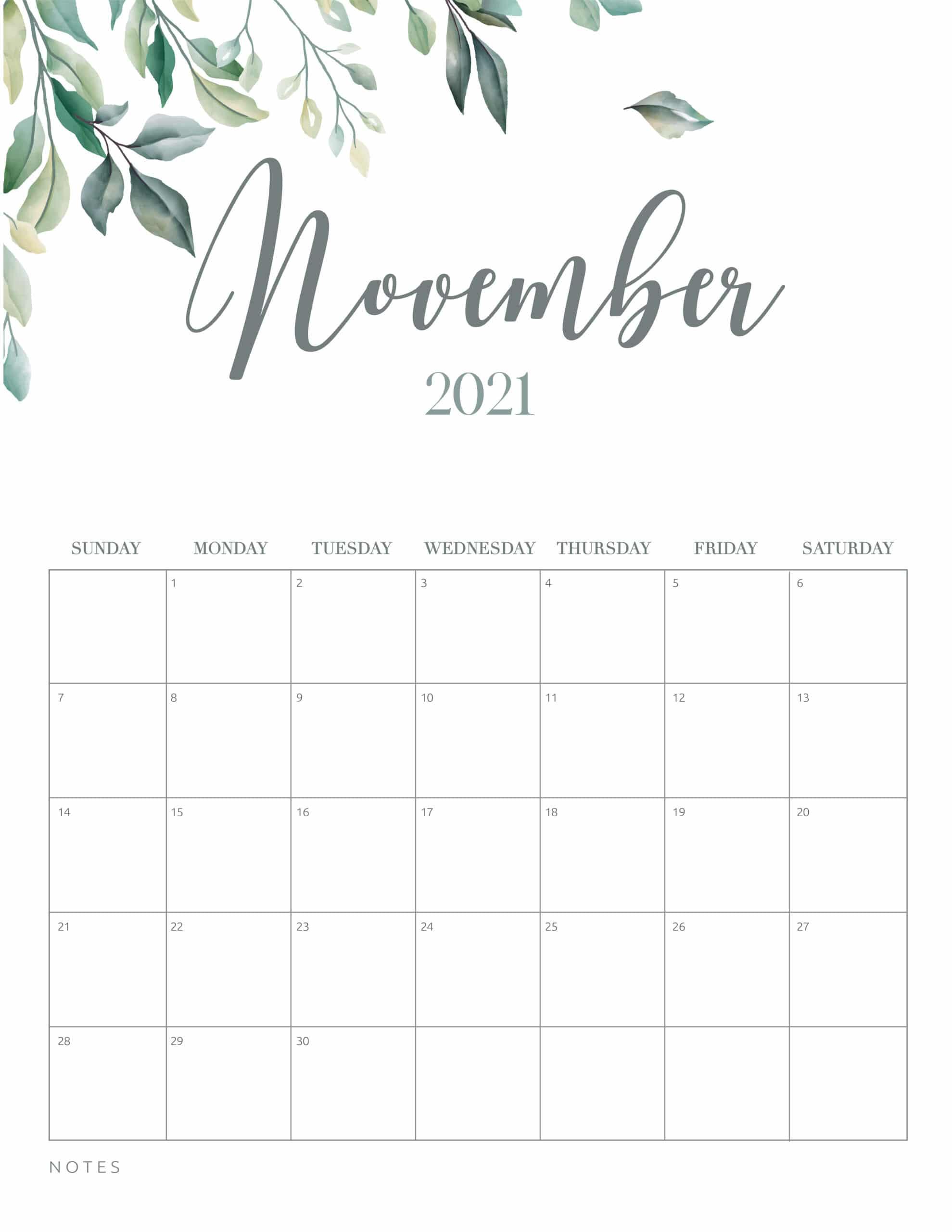 Free Printable November 2021 Calendar Cute