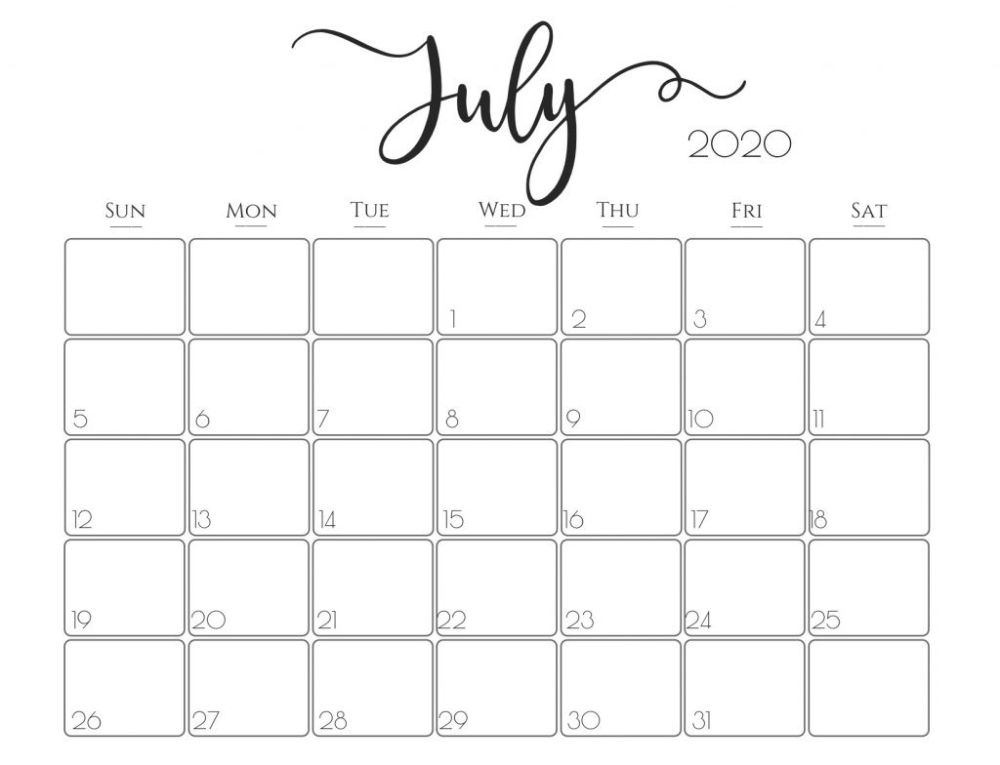 July 2020 Moon Calendar Template