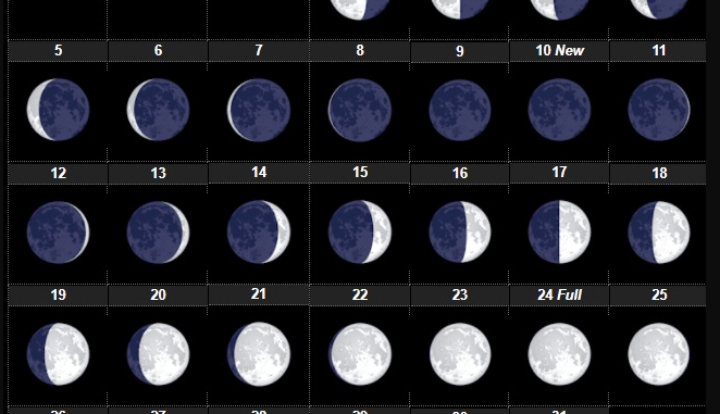 July 2021 Lunar Phases Calendar