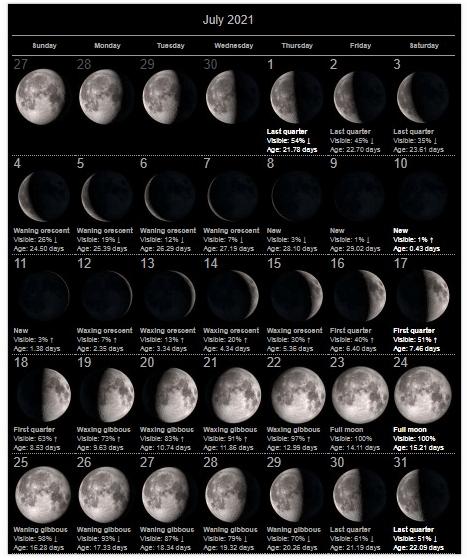 July 2021 Moon Calendar