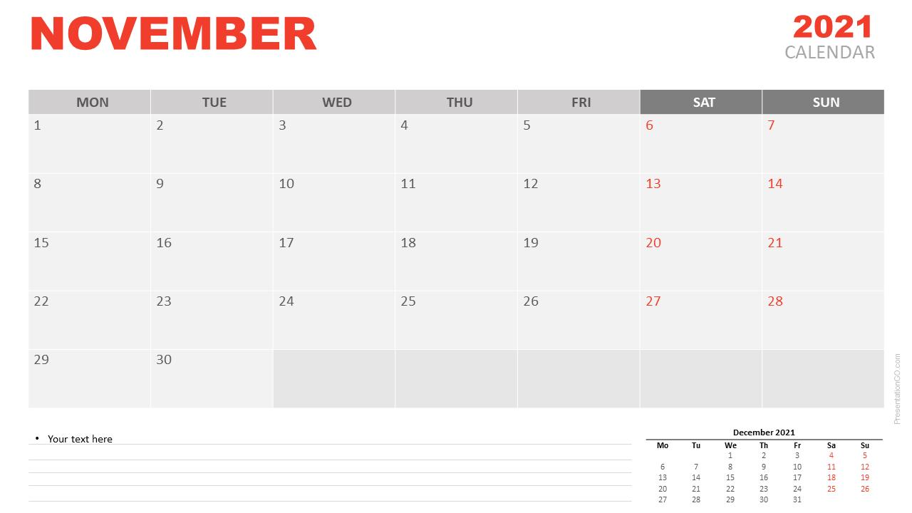 Monthly November 2021 Calendar PDF