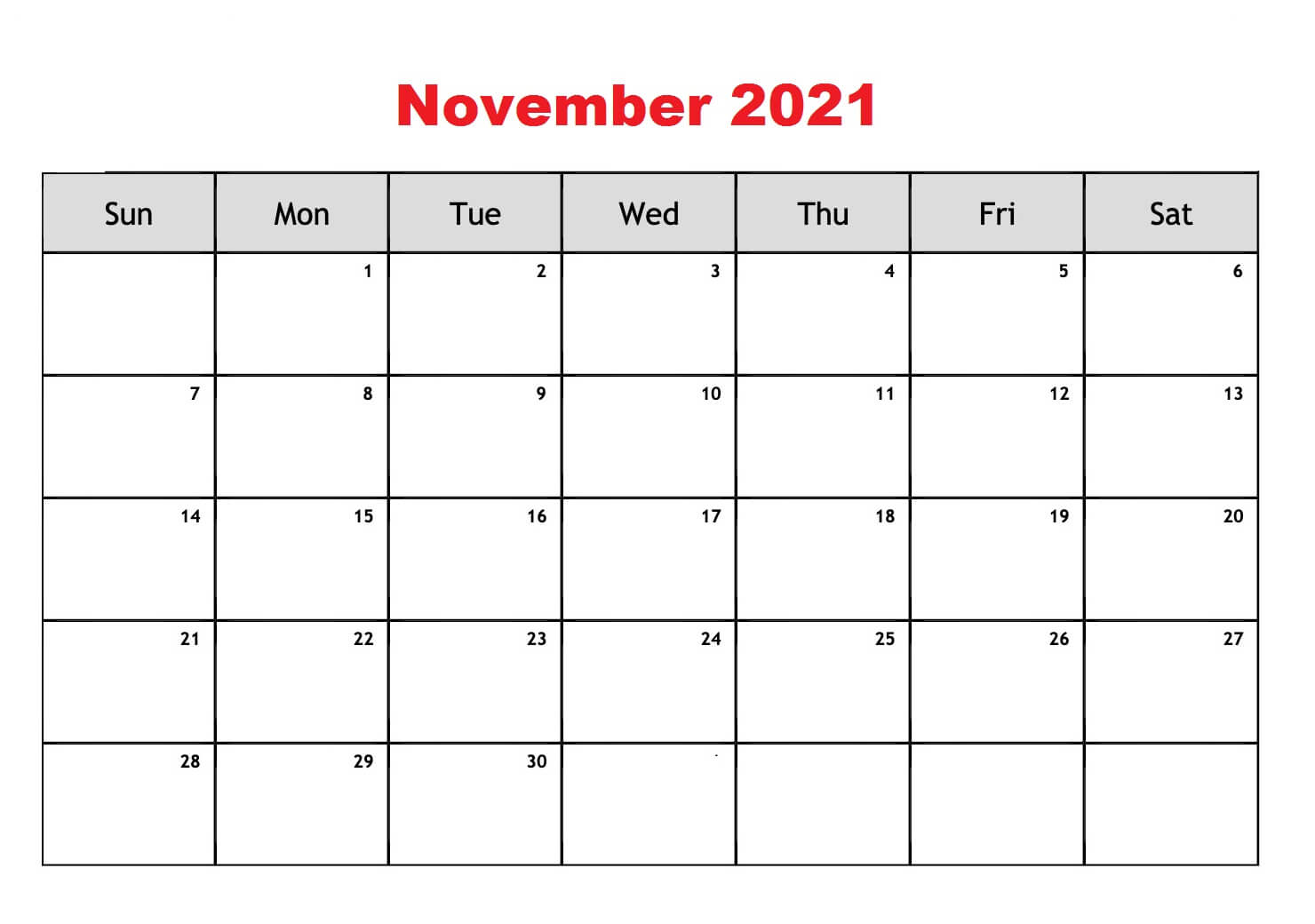 November 2021 Calendar Printable Template