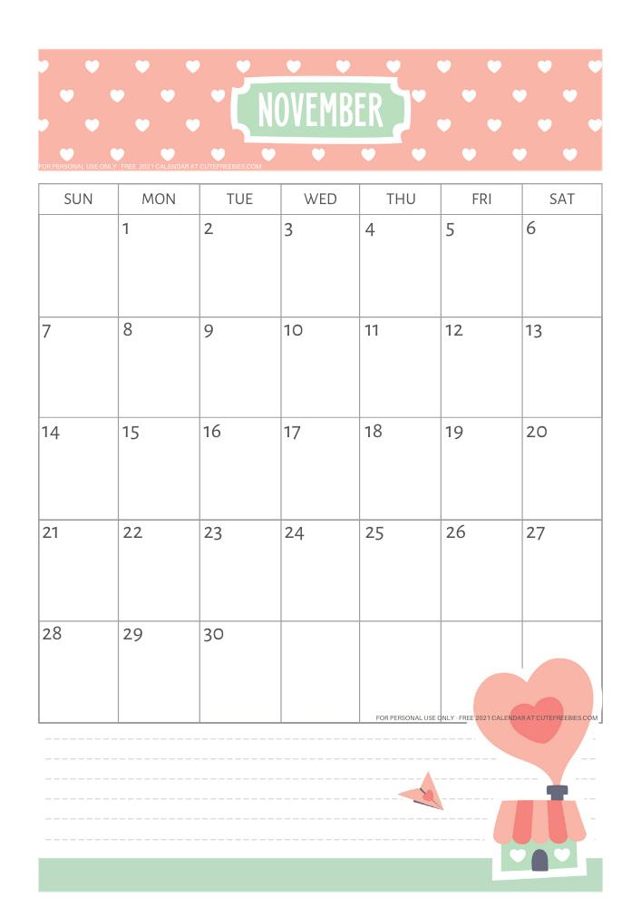 November 2021 Cute Calendar For Kids